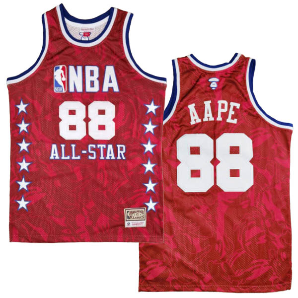 Camiseta AAPE x MITCHELL & NESS del rojo #88 para 1998 All-Star