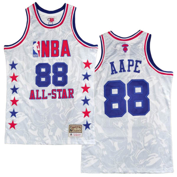 Camiseta AAPE x MITCHELL & NESS del blanco #88 para 1998 All-Star