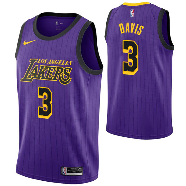 Camiseta Anthony Davis baratas para #3 Púrpura de Los Angeles Lakers City Edition 2019