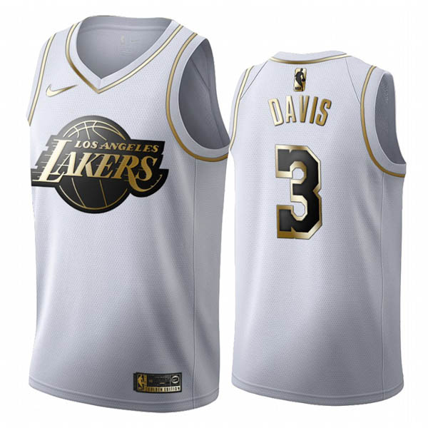 Camiseta Los Angeles Lakers baratas de Edicion Dorada Blanca #3 Anthony Davis
