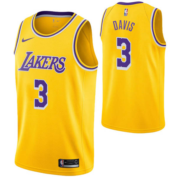 Camiseta Anthony Davis baratas para #3 Amarillo de Los Angeles Lakers