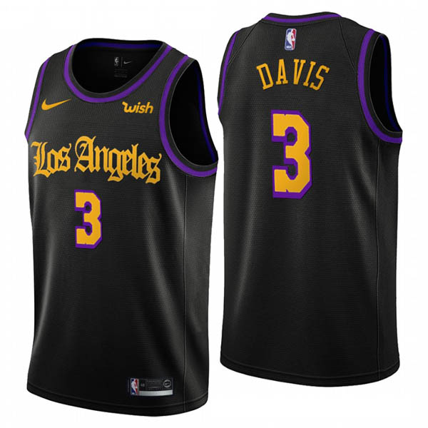 Camiseta Anthony Davis baratas para #3 negro Noche latina de Los Angeles Lakers 2019
