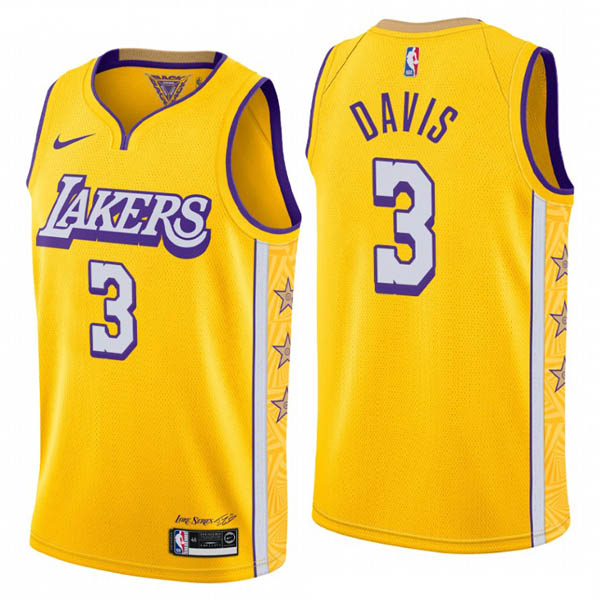 Camiseta Los Angeles Lakers baratas de amarillo City Edition #3 Anthony Davis para 2019-20