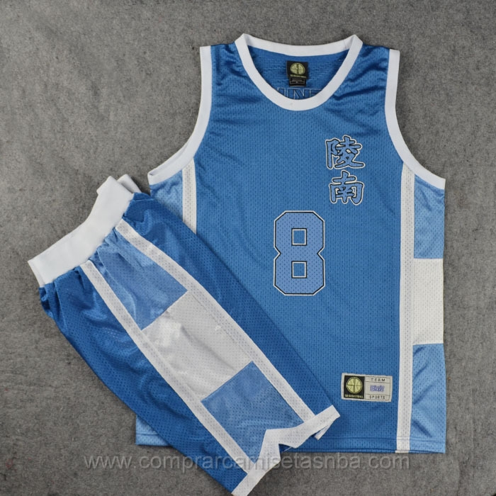 Camiseta Slam Dunk azul #8 Tomoyuki Uekusa Ryonan High