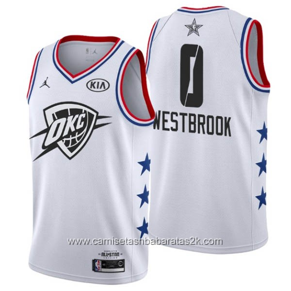 Camisetas NBA baratas blanco #0 Russell Westbrook 2019 All-Star