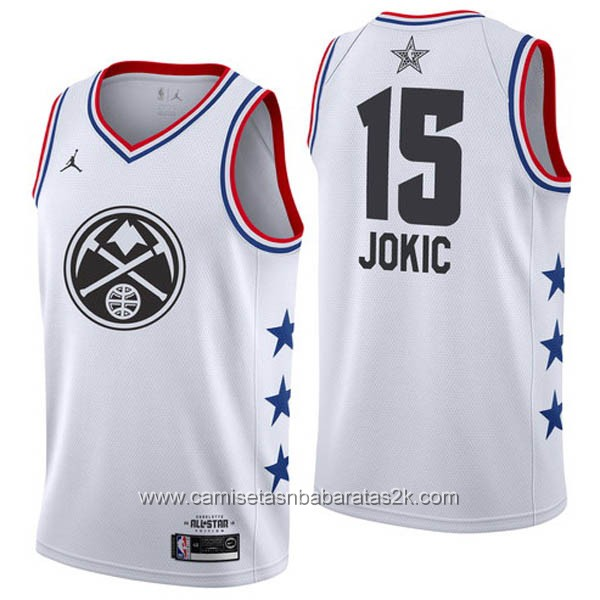 Camisetas NBA baratas blanco #15 Nikola Jokic 2019 All-Star