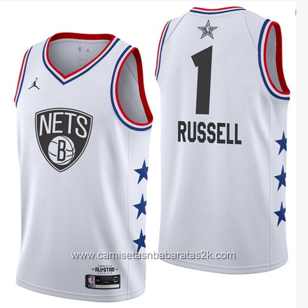 Camisetas NBA baratas blanco #1 D'Angelo Russell 2019 All-Star