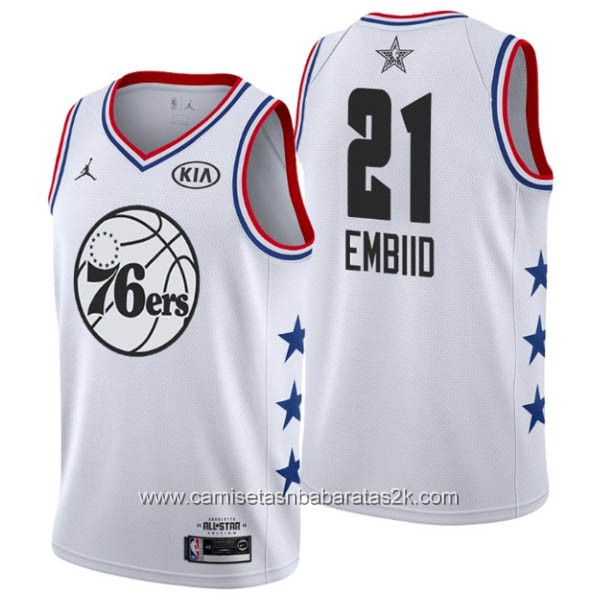 Camisetas NBA baratas blanco #21 Joel Embiid 2019 All-Star