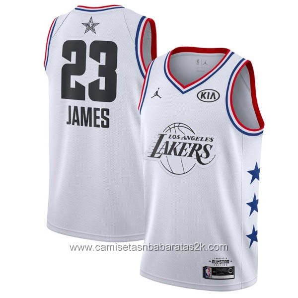 Camisetas NBA baratas blanco #23 Lebron James 2019 All-Star