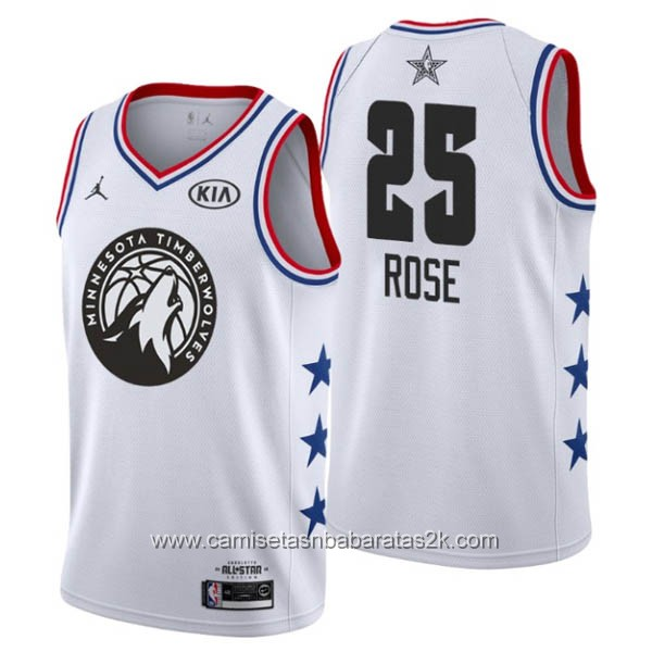Camisetas NBA baratas blanco #25 Derrick Rose 2019 All-Star