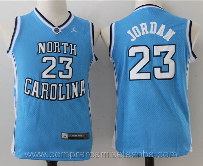 Camisetas nba niños baratas del azul Michael Jordan North carolina