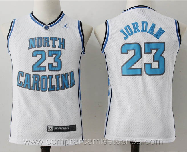 Camisetas nba niños baratas del blanco Michael Jordan North carolina