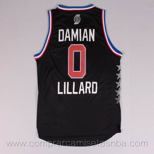 Camisetas de baloncesto NBA negro Damian Lillard 2015 All-Star