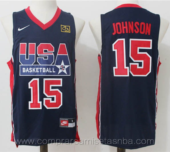 Camisetas de baloncesto USA retro azul Magic Johnson 1992