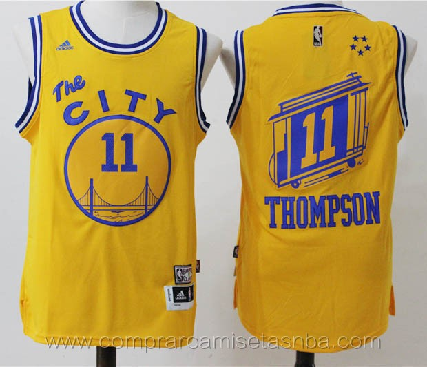 Camisetas nba del amarillo Klay Thompson Golden State Warriors version de la ciudad