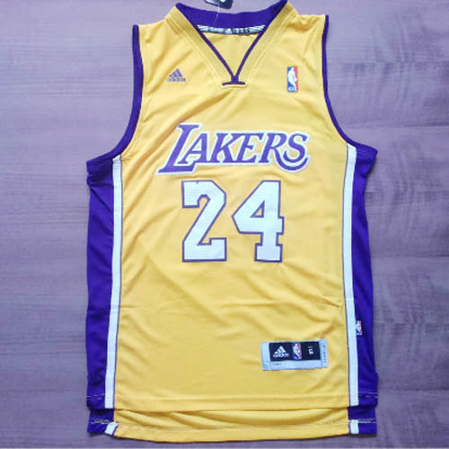 Camisetas nba del amarillo Nickname Black Mamba Kobe Bryant Los Angeles Lakers