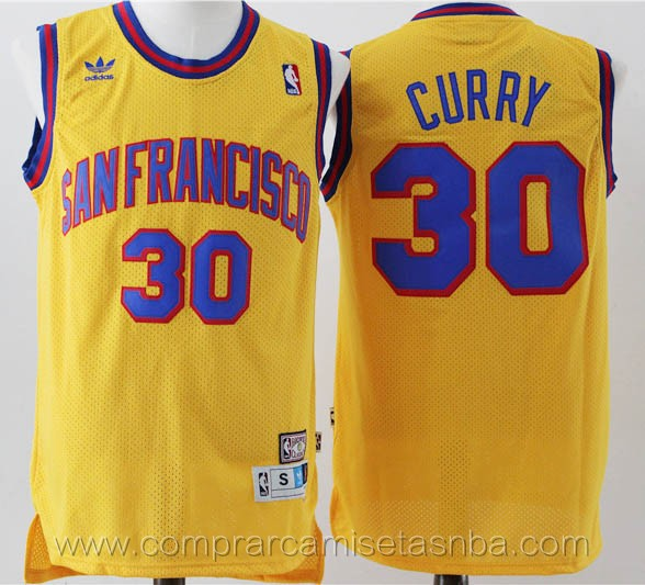 Camisetas nba del amarillo Stephen Curry Golden State Warriors Version de San Francisco