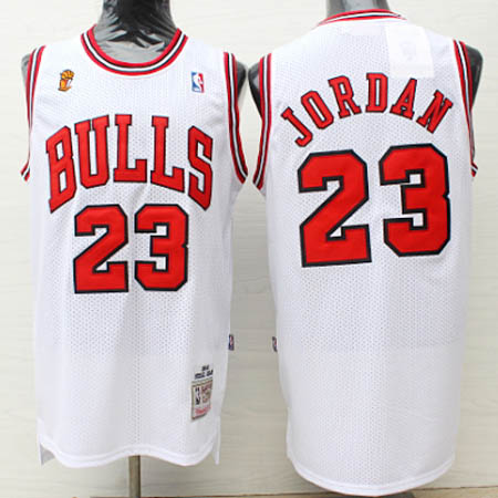 Camisetas nba del blanco Michael Jordan Chicago Bulls 1995-96 Season Champions