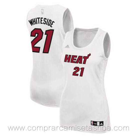 Camisetas nba del mujer blanco Hassan Whiteside Miami Heat