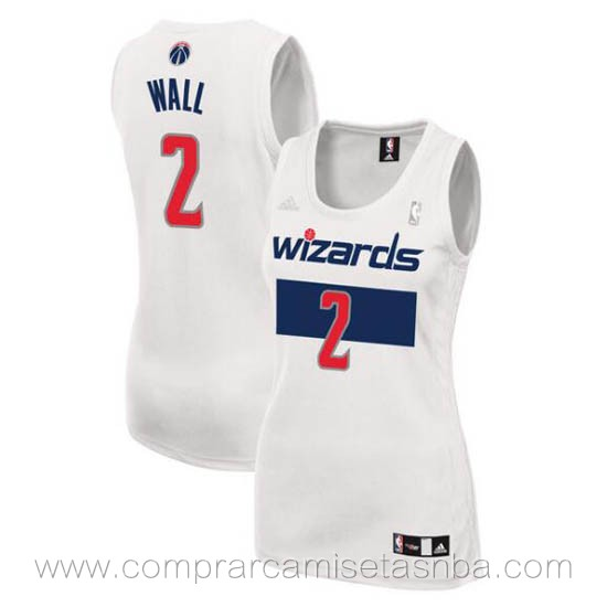 Camisetas nba del mujer blanco John Wall Washington Wizards