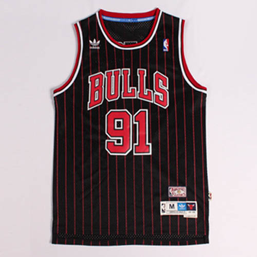 Camisetas nba del negro rojo Nickname The Worm Dennis Rodman Chicago Bulls