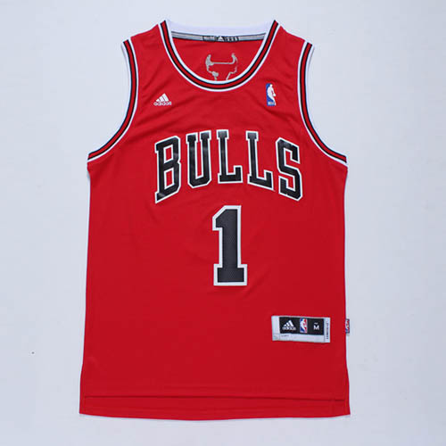 Camisetas nba del rojo Nickname D-ROSE Derrick Rose Chicago Bulls