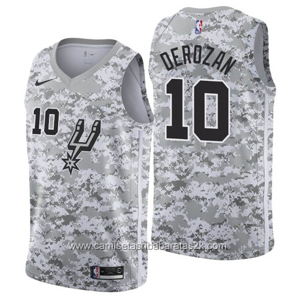 Camisetas nba baratas nike Earned Edition gris #10 DeMar DeRozan San Antonio Spurs