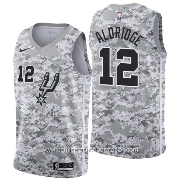 Camisetas nba baratas nike Earned Edition gris #12 LaMarcus Aldridge San Antonio Spurs