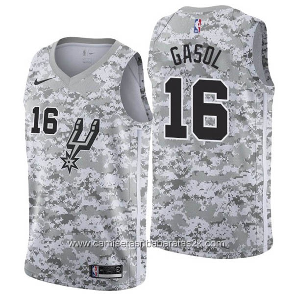 Camisetas nba baratas nike Earned Edition gris #16 Pau Gasol San Antonio Spurs
