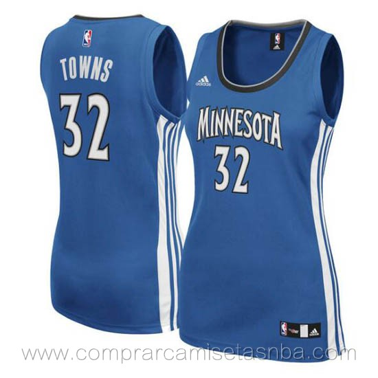Camisetas nba mujer azul Karl-Anthony Towns Minnesota Timberwolves