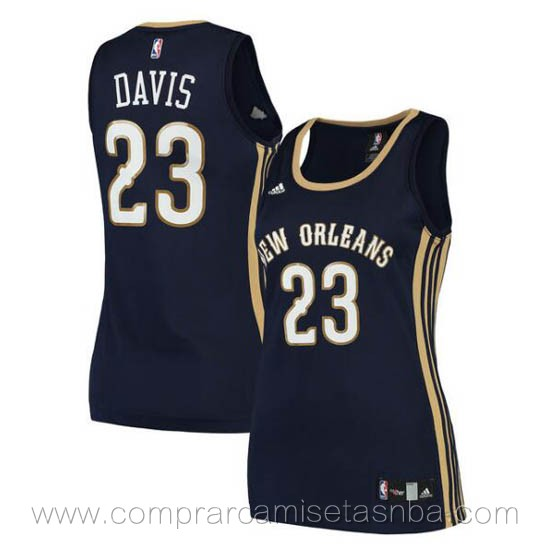 Camisetas nba mujer azul oscuro Anthony Davis New Orleans Pelicans