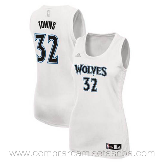 Camisetas nba mujer blanco Karl-Anthony Towns Minnesota Timberwolves