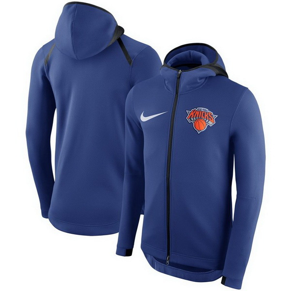 Chaqueta con capucha New York Knicks baratas de azul para Therma Flex Showtime