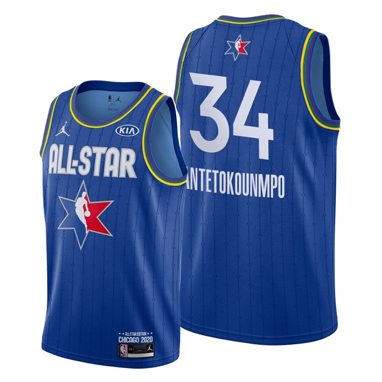 Camisetas NBA baratas Azul #34 Giannis Antetokounmpo para 2020 All-Star