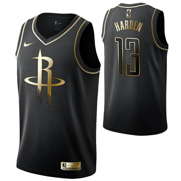 Camiseta James Harden baratas del #13 Oro negro para Houston Rockets