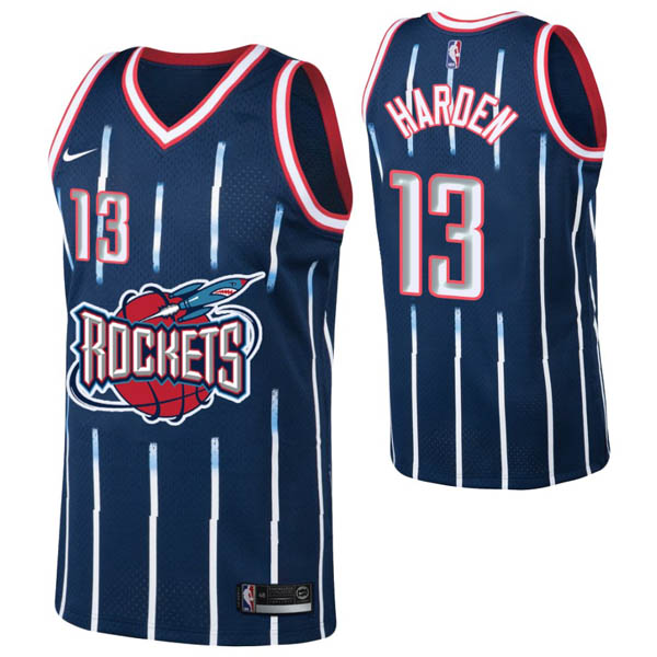 Camiseta James Harden baratas del #13 azul Hardwood Classics para Houston Rockets