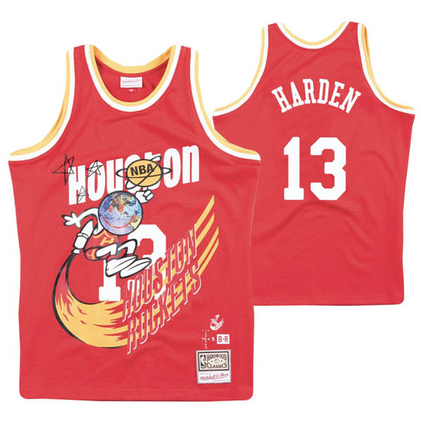 Camiseta James Harden baratas del #13 rojo Remix Hardwood Classics para Houston Rockets