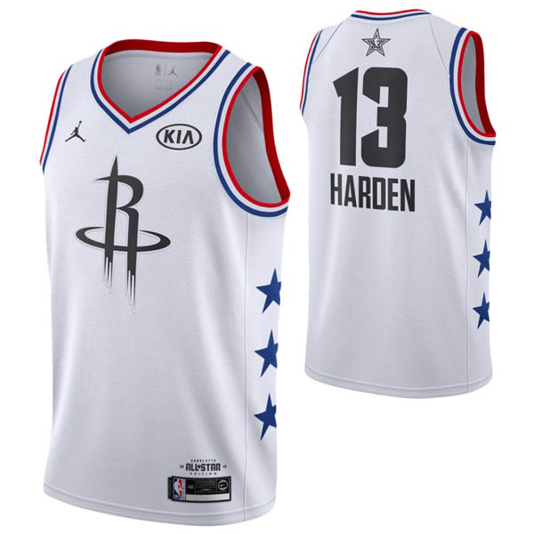 Camiseta James Harden baratas del #13 blanco All-Star para Houston Rockets 2019