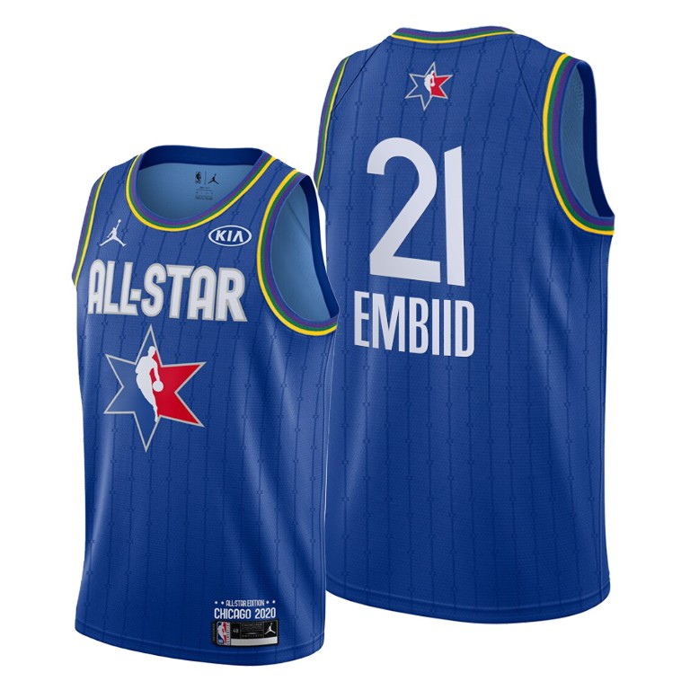 Camisetas NBA baratas Azul #21 Joel Embiid para 2020 All-Star