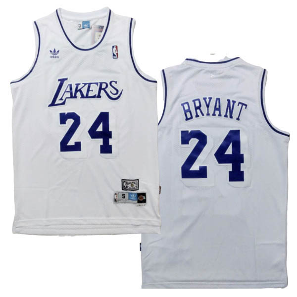 Camiseta Kobe Bryant baratas de la Retro blanco #24 para Los Angeles Lakers