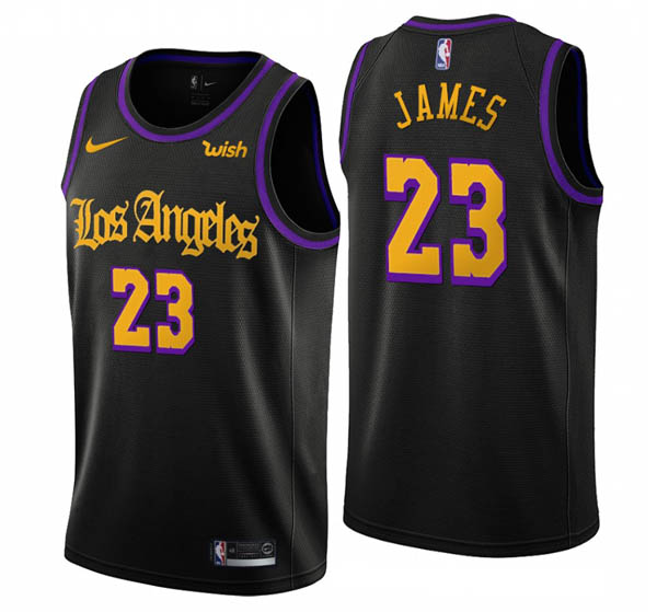 Camiseta Lebron James baratas de #23 negro Noche latina para Los Angeles Lakers 2019