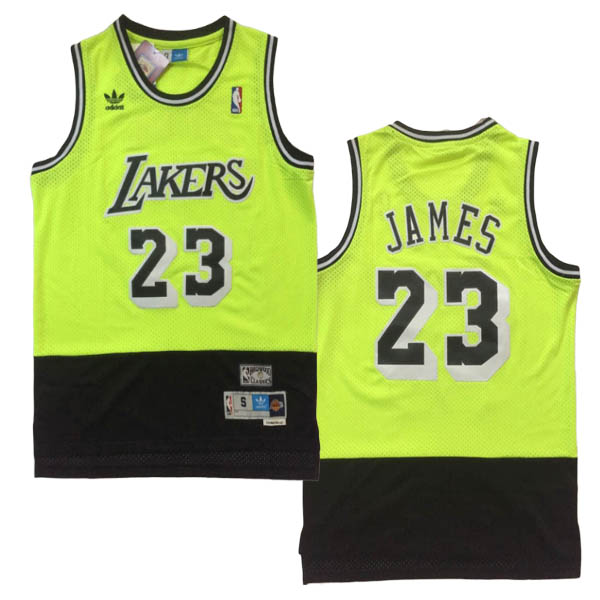 Camiseta Lebron James baratas de #23 Verde negro para Los Angeles Lakers