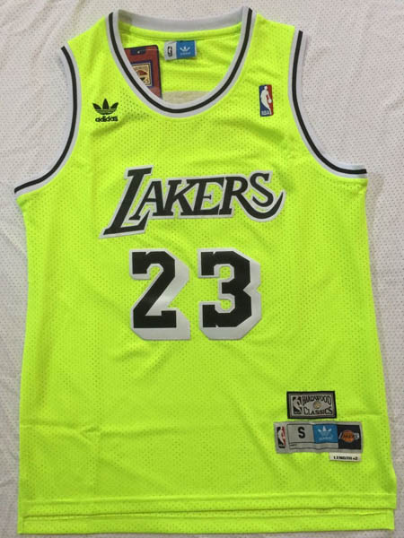 Camiseta Lebron James baratas de #23 Verde fluorescente para Los Angeles Lakers