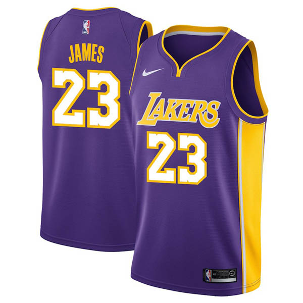 Camiseta Lebron James baratas de #23 Púrpura para Los Angeles Lakers