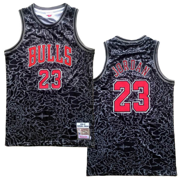 Camiseta Michael Jordan baratas del #23 negro Mitchell&Ness version para Chicago Bulls