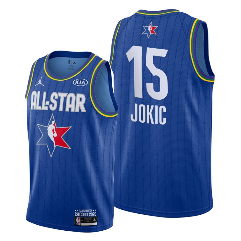 Camisetas NBA baratas Azul #15 Nikola Jokic para 2020 All-Star