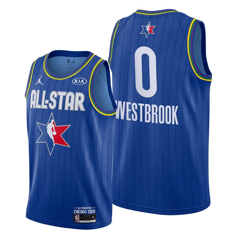 Camisetas NBA baratas Azul #0 Russell Westbrook para 2020 All-Star