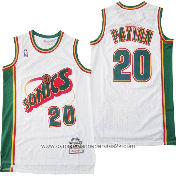 Camisetas nba baratas del blanco #20 Gary Payton de Seattle SuperSonics