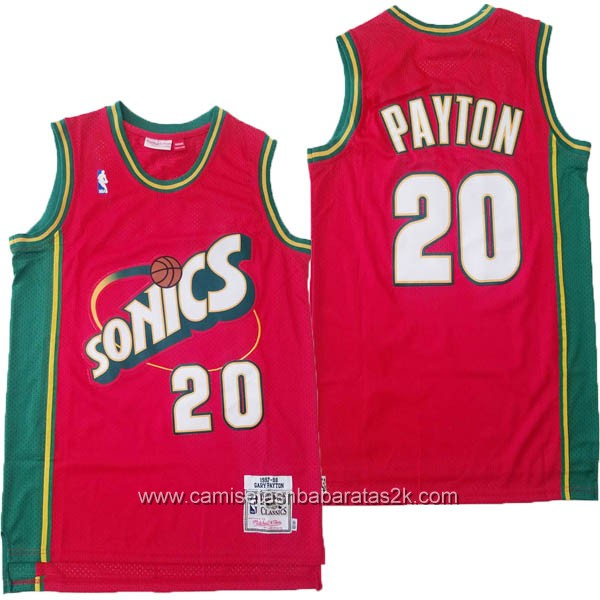Camisetas nba baratas del rojo #20 Gary Payton de Seattle SuperSonics
