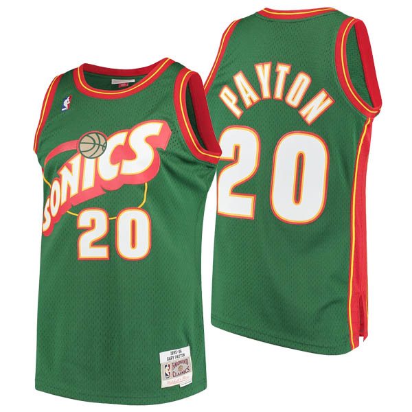 Camisetas nba baratas del verde #20 Gary Payton de Seattle SuperSonics